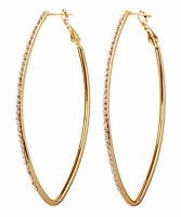 Swarovski Elements Crystal Fantastic Hoop Pierced Earrings Gold Authentic 7230v