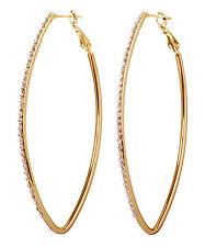 Swarovski Elements Crystal Fantastic Hoop Pierced Earrings Gold Authentic 7230c