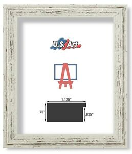"""US Art Frames 1.25"""" Distressed White Barnwood Polystyrene Picture Frame S-A"""