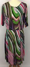 Spruce & Sage Multi-Color Wave Print 3/4 Sleeve Dress Size 1X Fits XL?