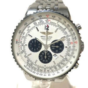 AUTHENTIC BREITLING Heritage Navi timer Wristwatch Silver SS A35340
