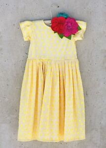 Joyfolie Mia Joy Vala Yellow Swirl Dress With Flower Clip Sz. 3 NWT