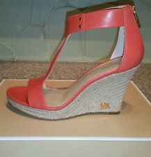 NEW MICHAEL Michael Kors Women's Espadrille Leather Wedge Sandal size 9