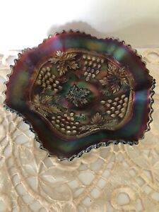 ANTIQUE NORTHWOOD AMETHYST CARNIVAL GLASS GRAPES AND CABLE SAWTOOTH EDGE BOWL