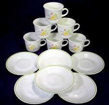 Set CORELLE Corning SPRING MEADOW Tea CUPS Coffee MUGS & SAUCERS Lot GREEN BAND