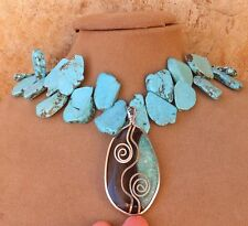 HUGE GEMSTONE NECKLACE PENDANT SILVER TURQUOISE SCROLL AGATE MINT GREEN BLACK