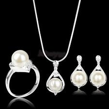 White Pearl & Crystal .925 sterling silver Necklace Earrings Ring Jewelry Set
