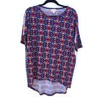 LuLaRoe Women's Irma Shirt NWT Size XXS Red Blue Geometric Floral