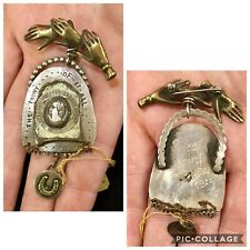 """SWEET BIRD STERLING BROOCH / PIN W CAMEO, HORSESHOE AND """"THE IRONY OF IT ALL..."""""""