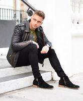 Men's Genuine Lambskin Leather Motorcycle Quilted Jacket Slim fit Biker Jacket