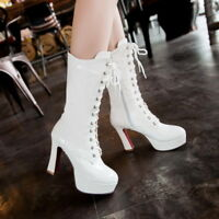 Women Mid Calf Boots Patent Leather Zip Lace Up High Block Heels Fashion Shoes