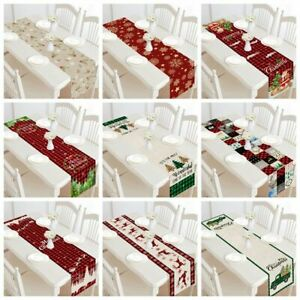 Christmas Table Runner-Black Buffalo Plaid Check-Cotton Linen Dinner-Decorate
