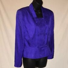 Adrianna Papell 100% Silk Fashion Jacket Asian Clasps Purple Size 8 Women's