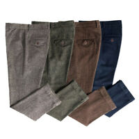 Hot Mens 80% Wool Winter Tweed Trousers British Hunter Loose Straight Pants