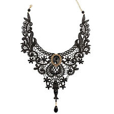 Black Lace Choker Necklace Collar Bib Gothic Punk Victorian Vintage Steampunk UK