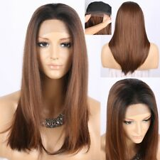 Ombre Brown Long Straight Synthetic Lace Front Wig Dark Roots Lace Wigs Glueless