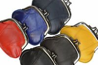 GENUINE LEATHER WOMEN'S COIN PURSE COIN CHANGE HOLDER DOUBLE FRAME CLASP COLORS