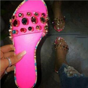 Women Summer Rhinestone Slippers Slip On Beach Flat Sandals Open Toe Shoes