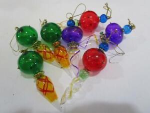 Vintage Blown Art Glass Icicle Type Fancy Chrismtas Ornament Lot of 8