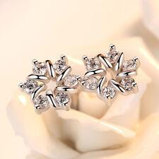 925 Sterling Silver Women Crystal Flower Earrings Prevent allergy Jewellery