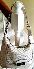 Coach No.19314 Kristin Ivory Woven Leather Hobo Shoulder Bag Purse