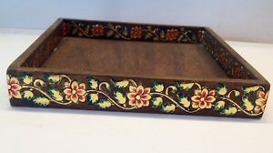 wooden gold foil work beautiful serving tray handcrafted ethnic tray