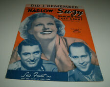 JEAN HARLOW music sheet 1936 in Suzy DID I REMEMBER FRANCHOT TONE & CARY GRANT