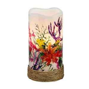 Coastal Tropical Real wax LED Candle Nautical Ocean Coral garden Beach house