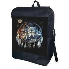 Wolf Dreamcatcher Backpack School Bag Travel Daypack Personalised Backpack