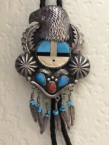 ZUNI HANDMADE STERLING SILVER TUQUOISE MULTI-STONE INLAY SUNFACE EAGLE BOLO