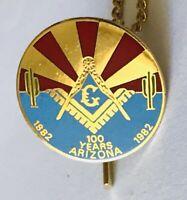 Masonic Lodge 100 Years Arizona 1982 Anniversary Pin Badge Rare Vintage (R8)