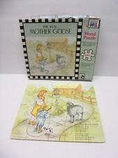 Vintage Mother Goose Nursery Rhymes Wood Jigsaw Puzzle 20 Pc. Toy RARE