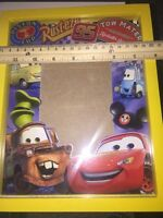 "Disney Parks Cars Mater McQueen 4x6"" Shadow Box Bright Yellow Wooden Frame"