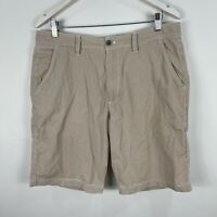 Gazman Mens Shorts 36 Brown White Striped Bermuda Pockets
