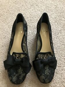 Kate Spade Black Fabric Lace Bow Slip On Heels Pumps Womens Size 7.5