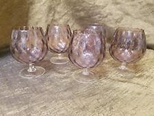 "Mid-Century Handblown Empoli 4"" Amethyst Optic Italian Art Glass Snifters x5"