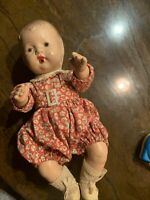 "Vintage Composition 10.5"" Baby Girl Doll with Jointed Arms Legs Neck Molded Hair"