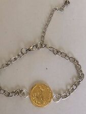 Aureus Of Galba Coin WC23 Gold Made From English Pewter on Anklet / Bracelet