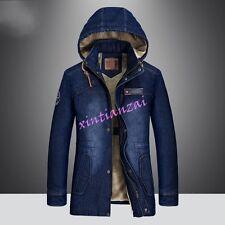 Mens Long Hooded Denim Fur Lined Coat Parka Thick Jacket Cowboy Cotton Outwear