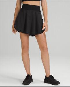 NWT Lululemon Flutter Hem High-Rise Tennis Skirt ~ Black ~ Sz 4