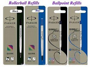 2 x Genuine Parker Medium Fine Ball Point or Rollerball Pen Refill Blue or Black