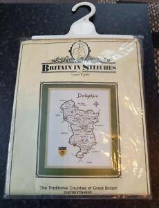 Vintage 1994 Britain in Stitches Derbyshire Map Susan Ryder Cross Stitch Kit