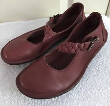 Womens ZEN KOMFORT KLOGS Temple Red-Brown Leather Mary Janes Shoes US SIZE 7 M