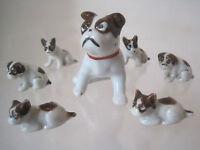 VINTAGE 7MINIATURE BOSTON TERRIER DOG FAMILLY SET PORCELAIN JAPAN FIGURINE TWINS