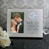 Personalised Hearts Mr & Mrs 4x6 Light Up Frame