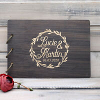 Custom Wedding Guest Book Wood Engraved Personalized Guestbook Wedding Album