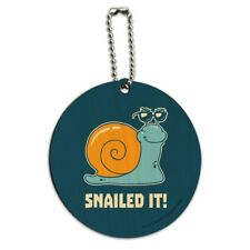 Snailed It Snail Nailed Funny Humor Round Wood Luggage Card Carry-On ID Tag