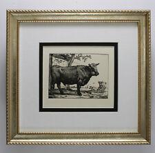 "Paulus POTTER 1800s Etching ""The Large Bull"" Durand Original SIGNED Framed COA"