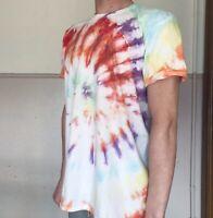TIE DYE T SHIRT Tee Hipster Fashion Tye Die Festival Grunge Rainbow Sunburst XL