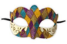 Argyle Glitter Half Mask Mardi Gras Masquerade Costume Accessory Harlequin C